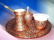 Turkse koffiereeks Stock Foto's