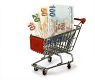Turkse Lire in het winkelen karretje royalty-vrije stock foto