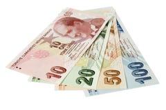 Turkse Lirebankbiljetten Stock Foto