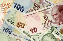 Turkse Lirebankbiljetten royalty-vrije stock afbeeldingen