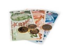 Turkse Lirebankbiljetten en muntstukken royalty-vrije stock fotografie