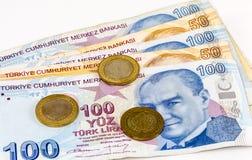 Turkse Lirebankbiljetten en muntstukken royalty-vrije stock foto