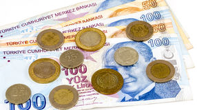Turkse Lirebankbiljetten en muntstukken stock afbeeldingen