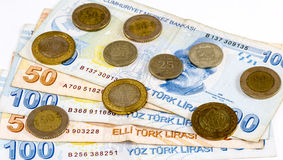 Turkse Lirebankbiljetten en muntstukken stock foto's