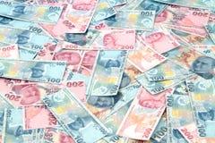 Turkse Lirebankbiljetten (POGING of TL) 100 TL en 200 TL Royalty-vrije Stock Foto's