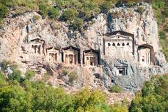 Turkse Lycian-graven - oud necropool stock foto