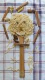 Turkse met de hand gemaakte noedels, natuurlijke noedels, natuurlijke noedel, met de hand gemaakte vermicelli, met de hand gemaak Stock Foto