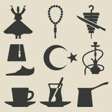 Turkse nationale geplaatste pictogrammen Stock Foto