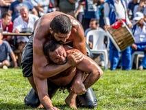 Turkse nationale sportolie die in Turkije worstelen royalty-vrije stock foto