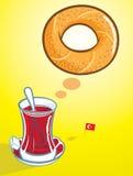 Turkse ongezuurd broodje en thee vector illustratie