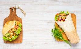 Turkse Sandwich en Shawarma met Exemplaarruimte Stock Afbeelding