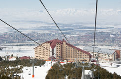 Turkse skitoevlucht. Palandoken. Erzurum Stock Foto's