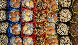 Turkse suikergoed en snoepjes, smakelijke achtergrond, Stock Fotografie