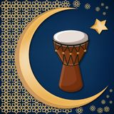 Turkse traditionele trommel op verfraaide achtergrond met gouden maan, ster en oosters ornament Royalty-vrije Stock Foto