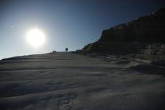 Turkse treden witte klip dichtbij Agrigento, Sicilië Stock Fotografie