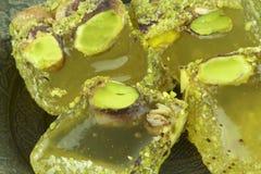 Turkse verrukking met pistachenoten Stock Afbeeldingen