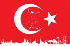 Turkse vlag en silhouetoriëntatiepunten Stock Foto's