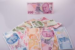 Turksh Lira banknotes of various color, pattern and value Royalty Free Stock Image