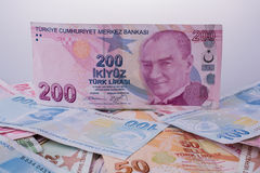 Turksh Lira banknotes of various color, pattern and value Royalty Free Stock Images