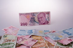 Turksh Lira banknotes of various color, pattern and value Stock Image