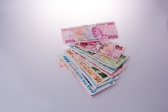 Turksh Lira banknotes of various color, pattern and value Stock Photos