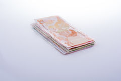 Turksh Lira banknotes of various color, pattern and value Stock Photo