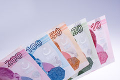 Turksh Lira banknotes of various color, pattern and value Stock Images