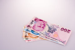 Turksh Lira banknotes of various color, pattern and value Royalty Free Stock Photo