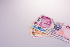 Turksh Lira banknotes of various color, pattern and value Royalty Free Stock Photography