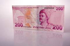 Turksh Lira banknotes of 200  on white background. Turksh Lira banknotes of 200 Lira  on white background Stock Images