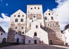 Turku castle in bright sunshine in Finland on a sunny summer day Royalty Free Stock Photo