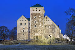 Turku Castle in night, Finland Royalty Free Stock Photos