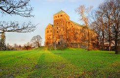 Turku castle at sunset Royalty Free Stock Images