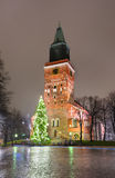 Turku Cathedral and Christmas tree Royalty Free Stock Images