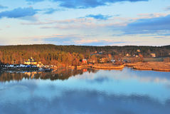 Turku environs at sunset Stock Photo