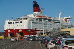 TURKU, FINLAND - April 30, 2018: Turku-Stockholm ferry, car queue to Amorella ship of Viking Line company, April 30. 2018 royalty free stock photos