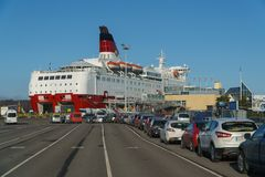 TURKU, FINLAND - April 30, 2018: Turku-Stockholm ferry, car queue to Amorella ship of Viking Line company, April 30. 2018 royalty free stock photography