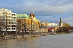 Turku, Finland. Aurajoki riverside Royalty Free Stock Photography