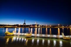Turku harbor at night Stock Images