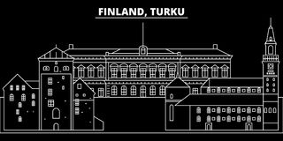 Turku silhouette skyline. Finland - Turku vector city, finnish linear architecture, buildings. Turku travel illustration. Turku silhouette skyline. Finland Royalty Free Stock Photos