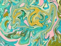 Turkusowa żółta cyfrowa marmoryzacja Abstrakta marmurkowaty tło Holograficzny abstrakta wzór Fotografia Stock