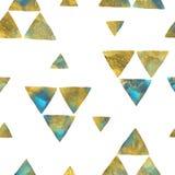 Turkusowego błękita i złocistego pyłu trójboki na bielu bezszwowa tło akwarela royalty ilustracja