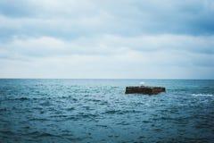 Turkusowoniebieski morze w zimie Zdjęcia Royalty Free