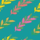 Turkusowy bezszwowy liścia watercolour wzoru projekt royalty ilustracja