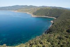 Turkusowy morze i natura Corsica, Francja Fotografia Royalty Free