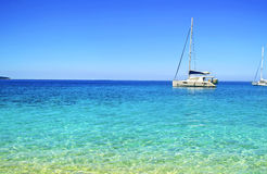 Turkusowy morze na Ionian wyspach Ithaca Grecja Fotografia Royalty Free