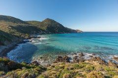 Turkusowy morze na wybrzeżu pustyni des Agriates w Corsica Obraz Royalty Free