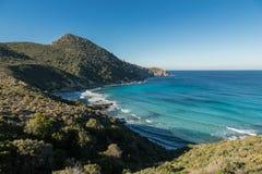 Turkusowy morze na wybrzeżu pustyni des Agriates w Corsica Zdjęcie Royalty Free