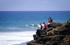 Turkusowy ocean i niebieskie niebo w Mauritius Obraz Stock