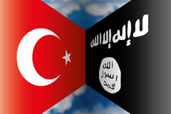 Turkye vs isis flags Royalty Free Stock Photo